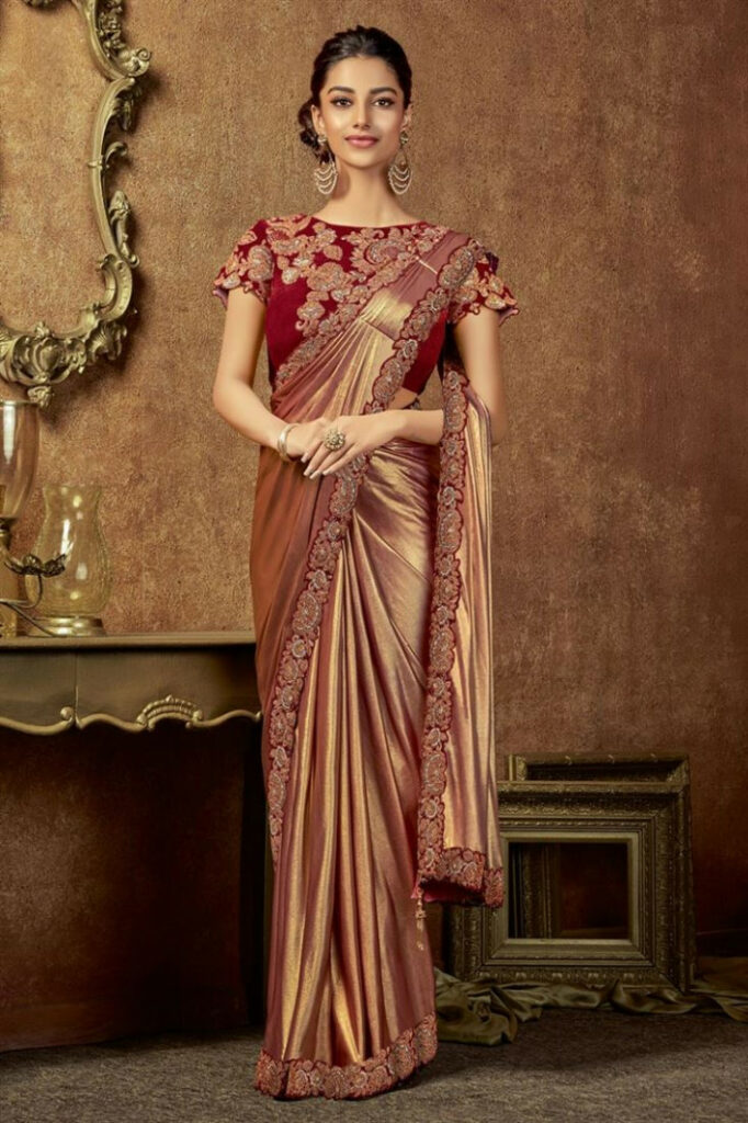 Buy Glamorously Embroidered Lycra Fabric Brown Color