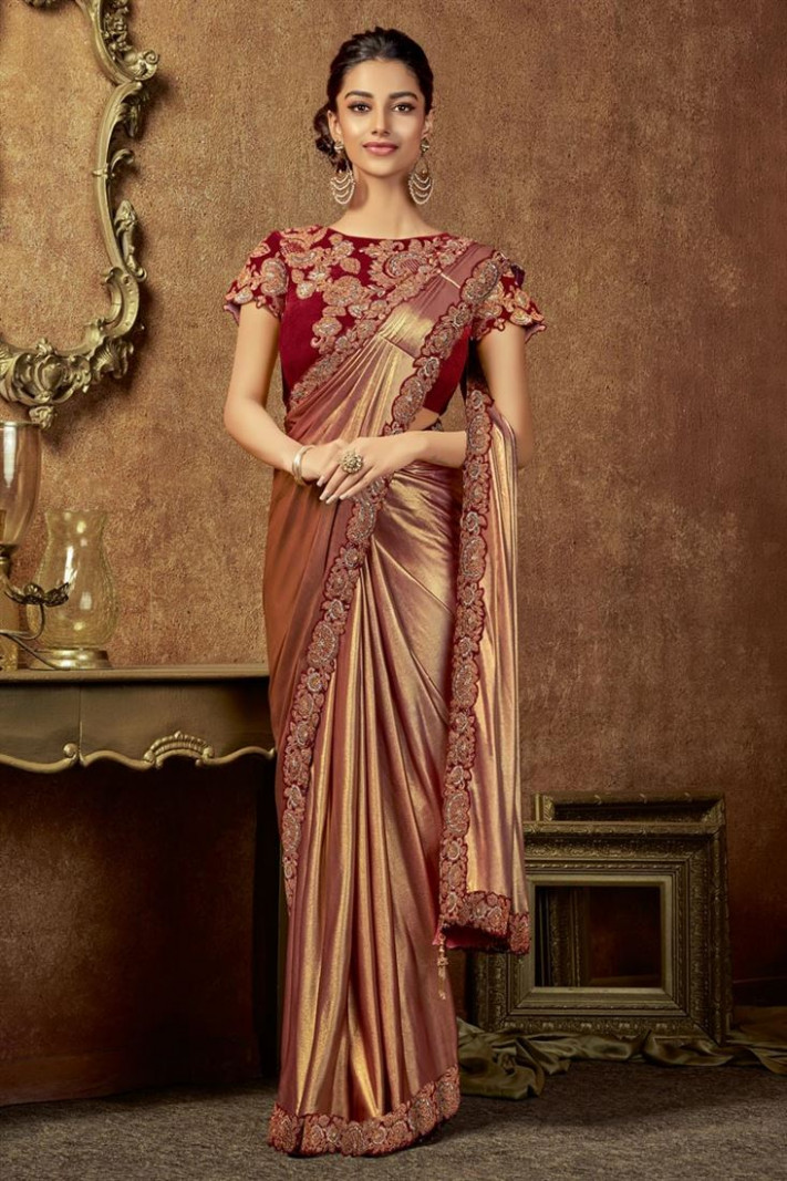 Buy Glamorously Embroidered Lycra Fabric Brown Color  - one minute saree