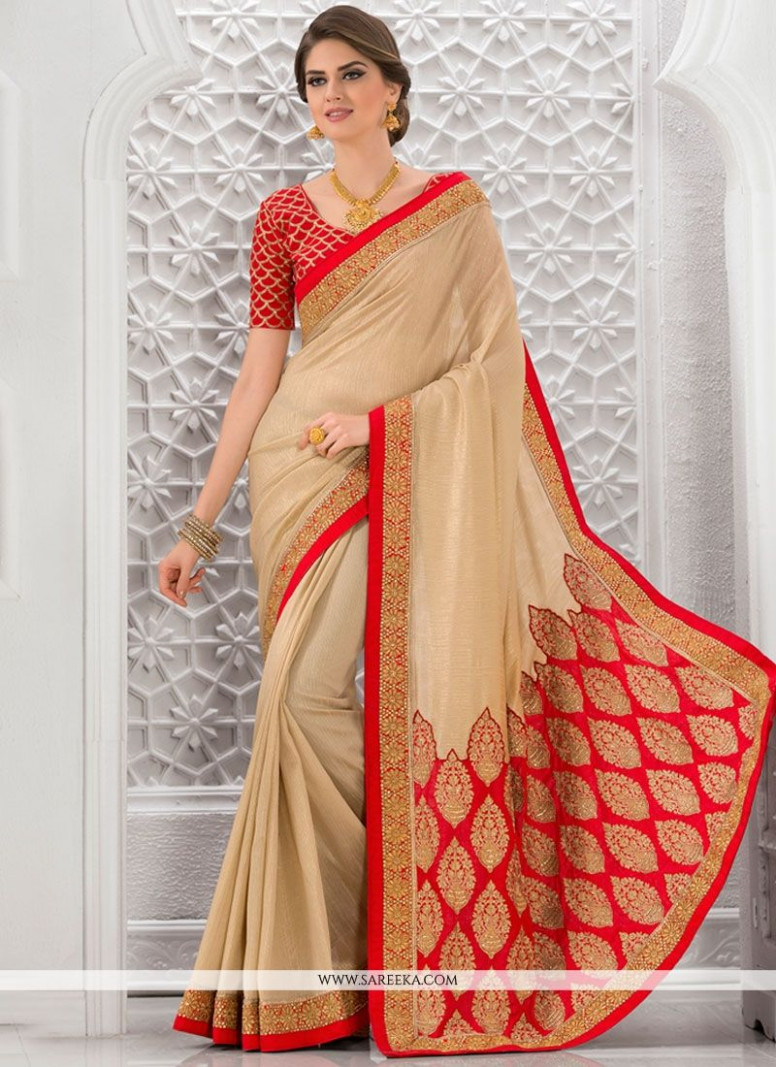 Buy Gold and Red Art Silk Traditional Designer Saree