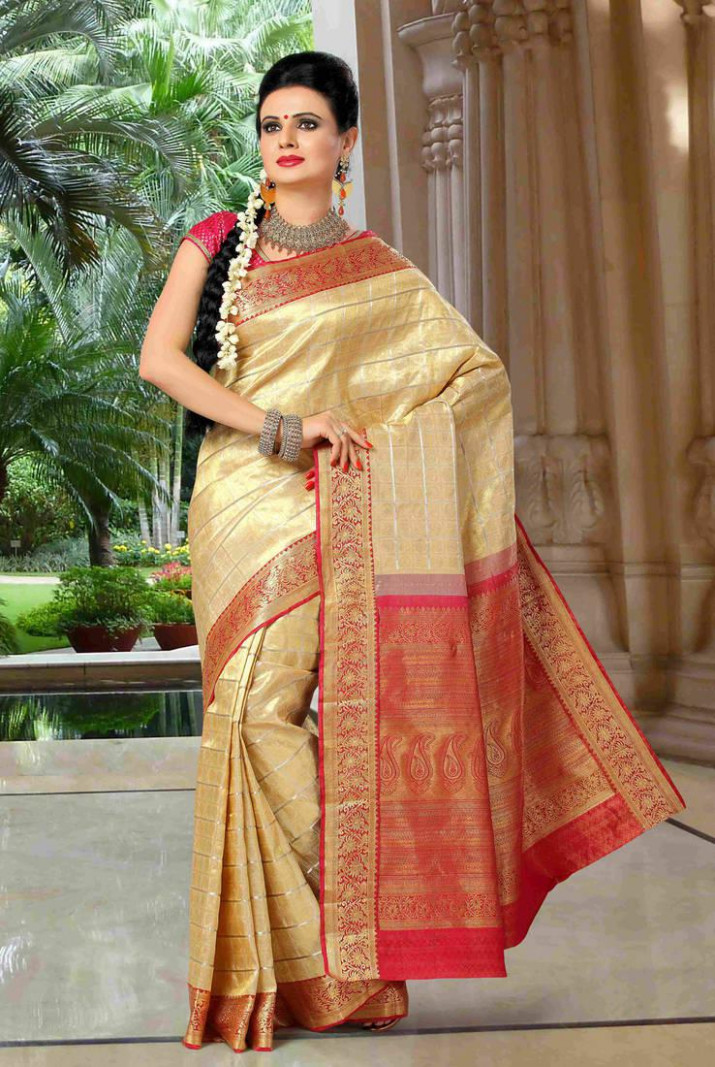 Buy gold embroidered silk saree with blouse Online