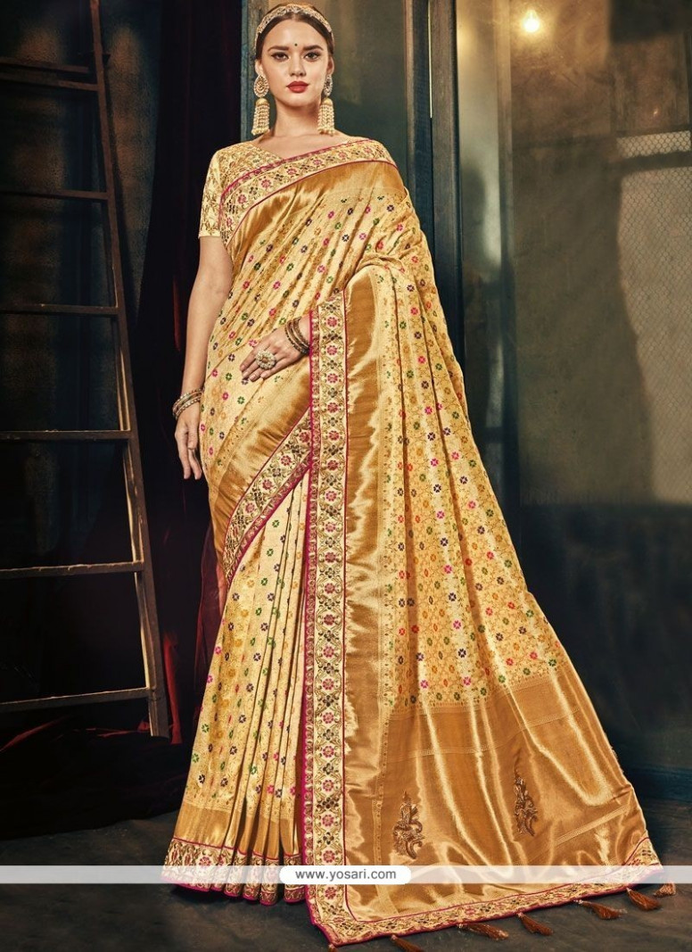 Buy Gold Traditional Designer Saree  Wedding Sarees