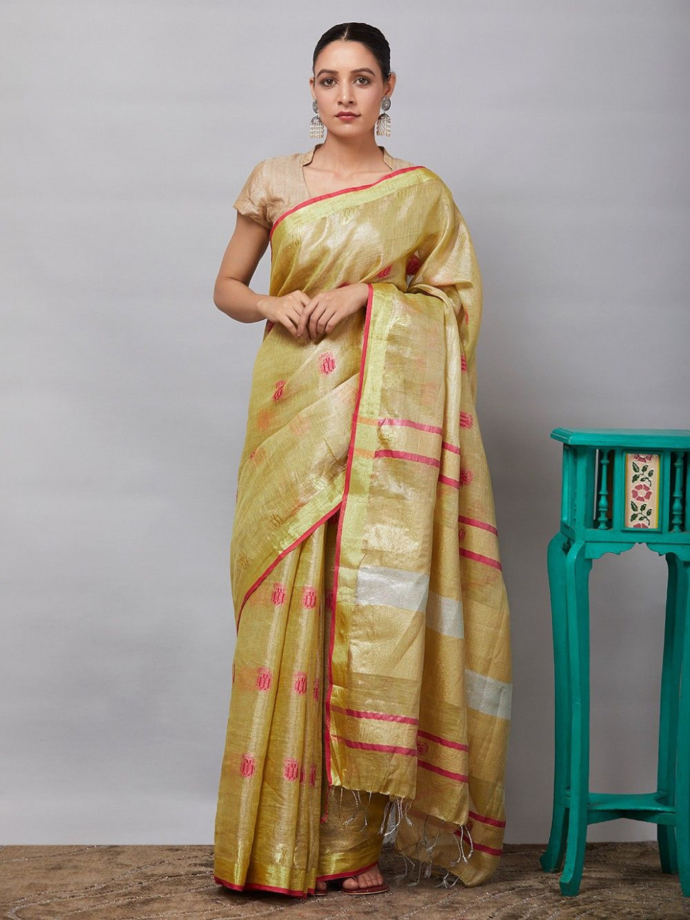 Buy Golden Embroidered Linen Tissue Saree online at Theloom