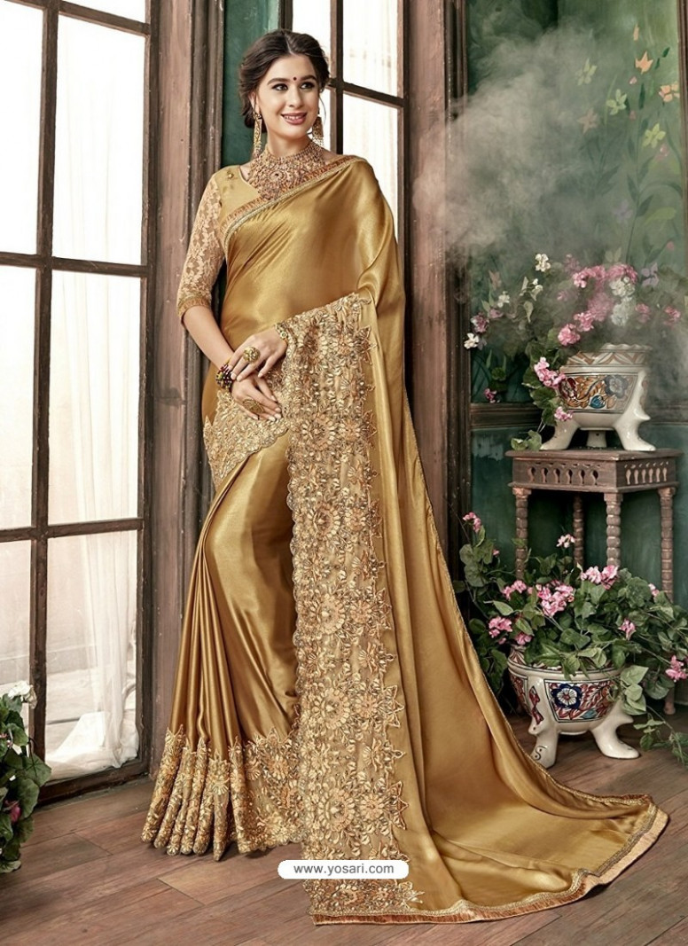 Buy Golden Malai Embroidered Designer Wedding Saree