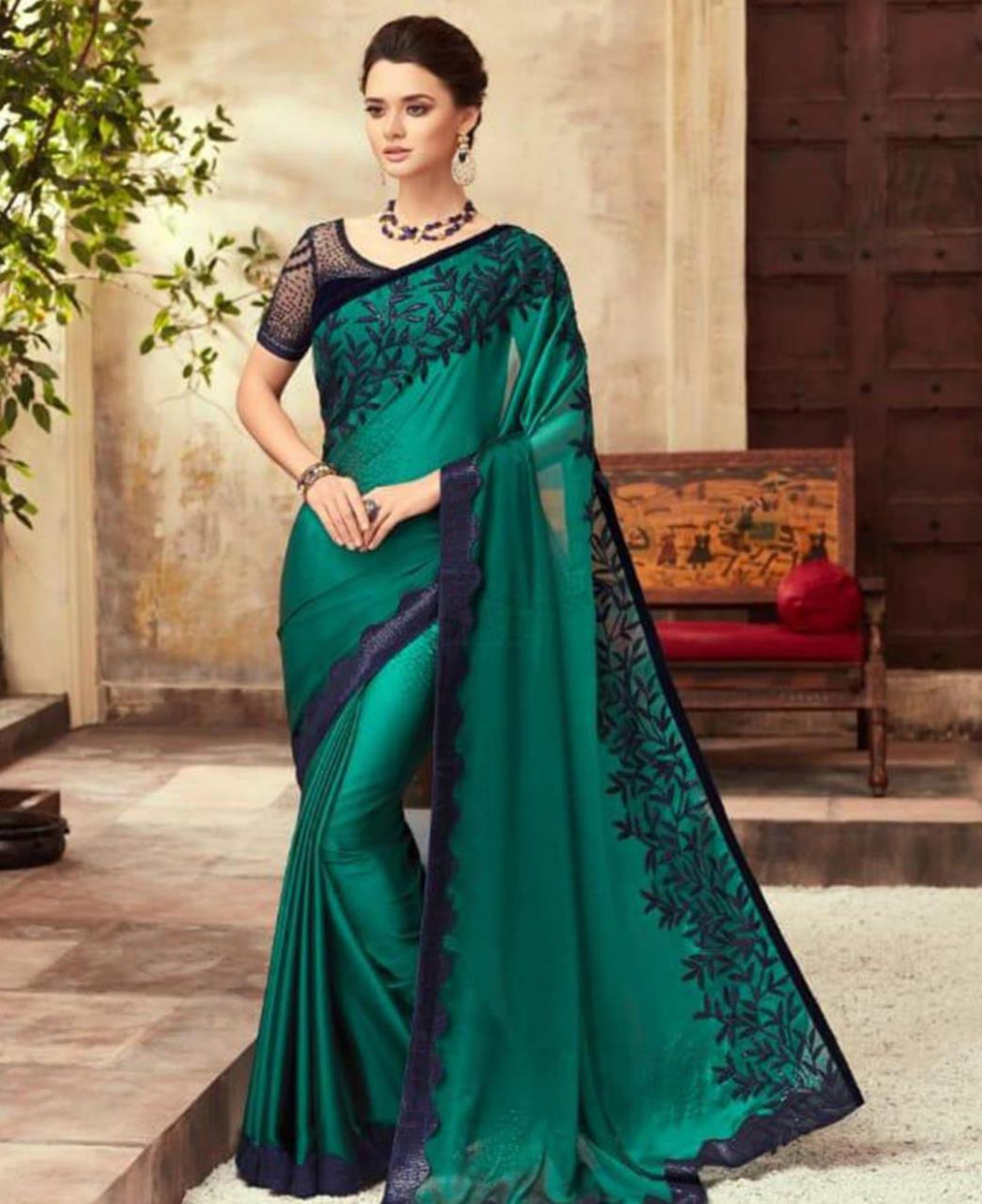 Buy Gorgeous Dark Green Designer Saree [165567] at $64.92