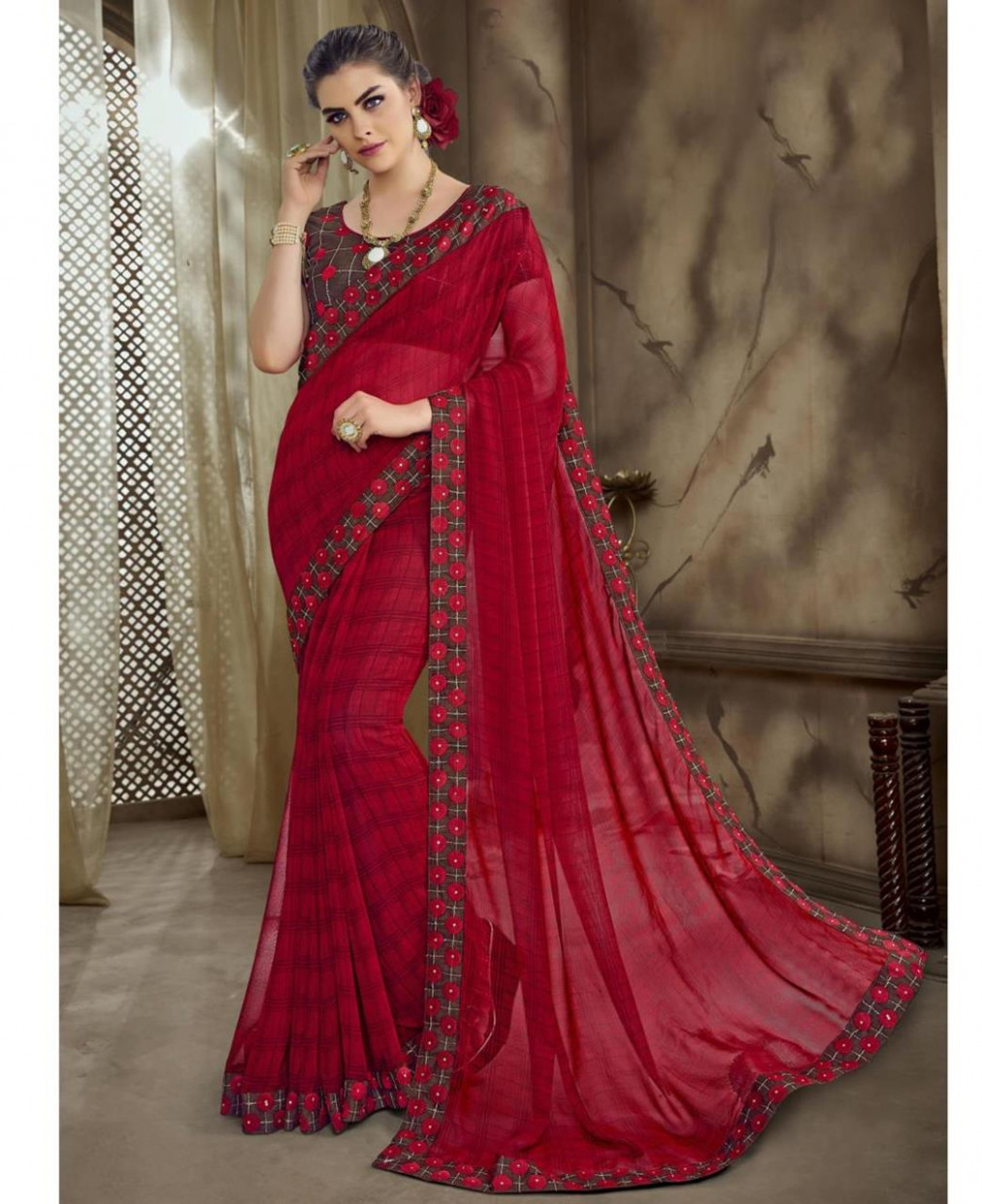 Buy Gorgeous Red Casual Saree [166523] at £17.10