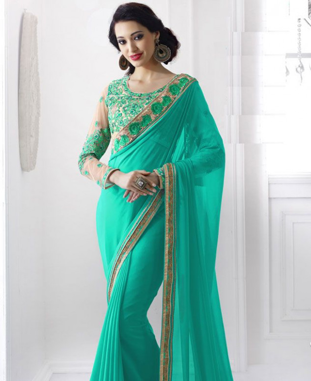Buy Graceful Turquoise Georgette Saree [77823] at ₹ 4,450.61