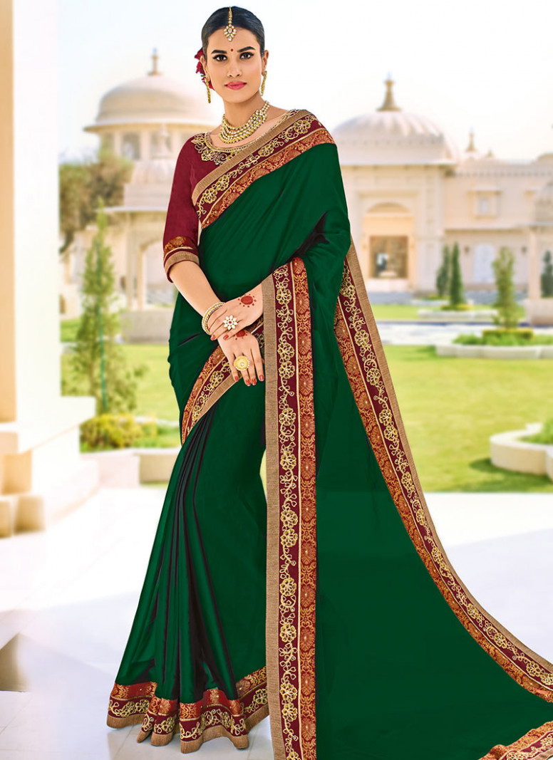 Buy Green Chiffon Border Saree, Embroidered, sari Online