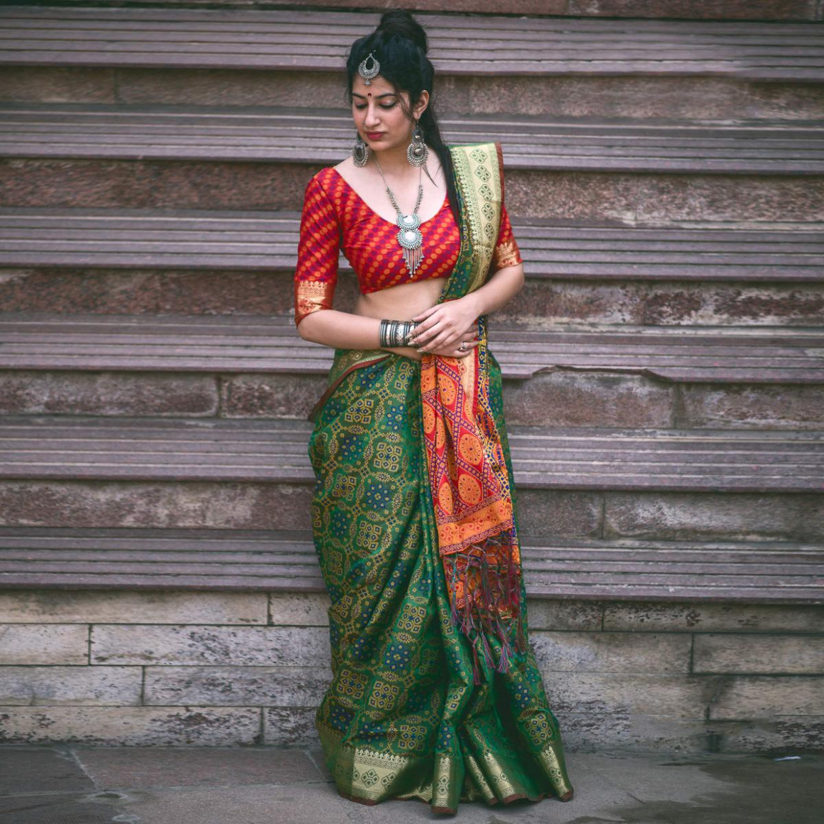 Buy Green Colored Festive Wear Patola Silk Saree Online