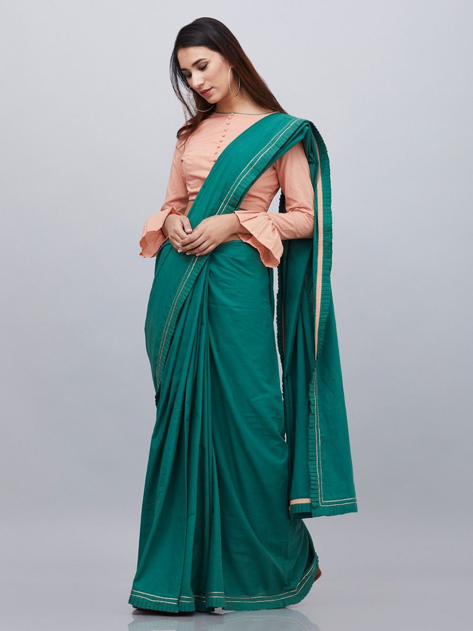 Buy Green Cotton Saree with Peach Blouse - Set of 2 online