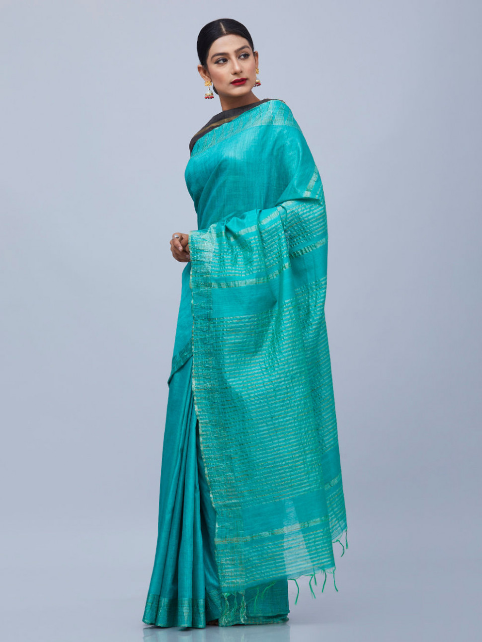 Buy Green Cotton Silk Saree online at Theloom