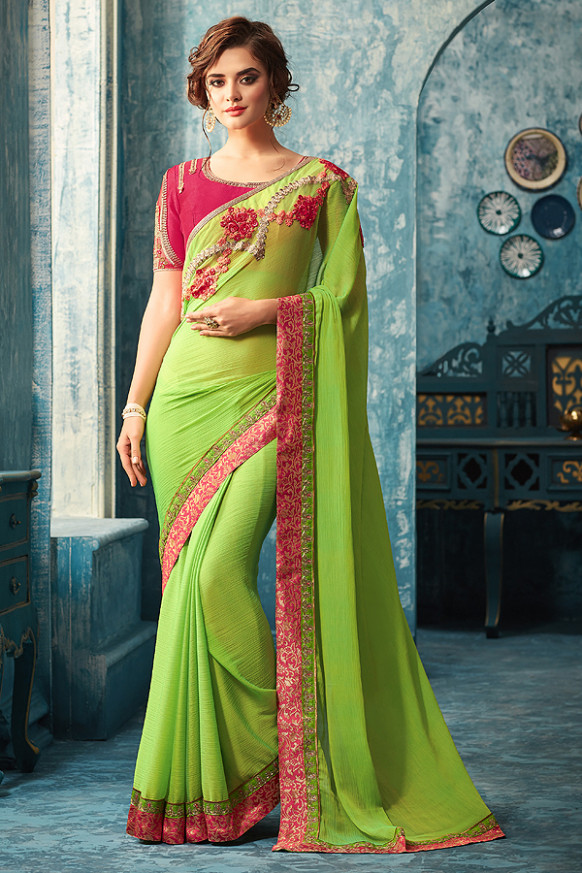Buy Green Designer Saree With Pink Embroidered Blouse