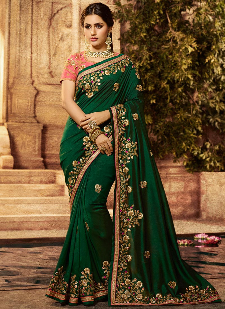 Buy Green Embroidered Art Silk Saree, Embroidered, sari