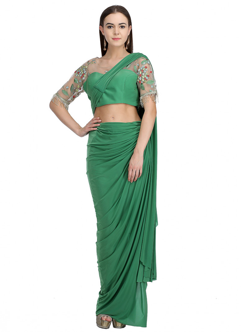 Buy Green Embroidered Indowestern Saree, Embroidered