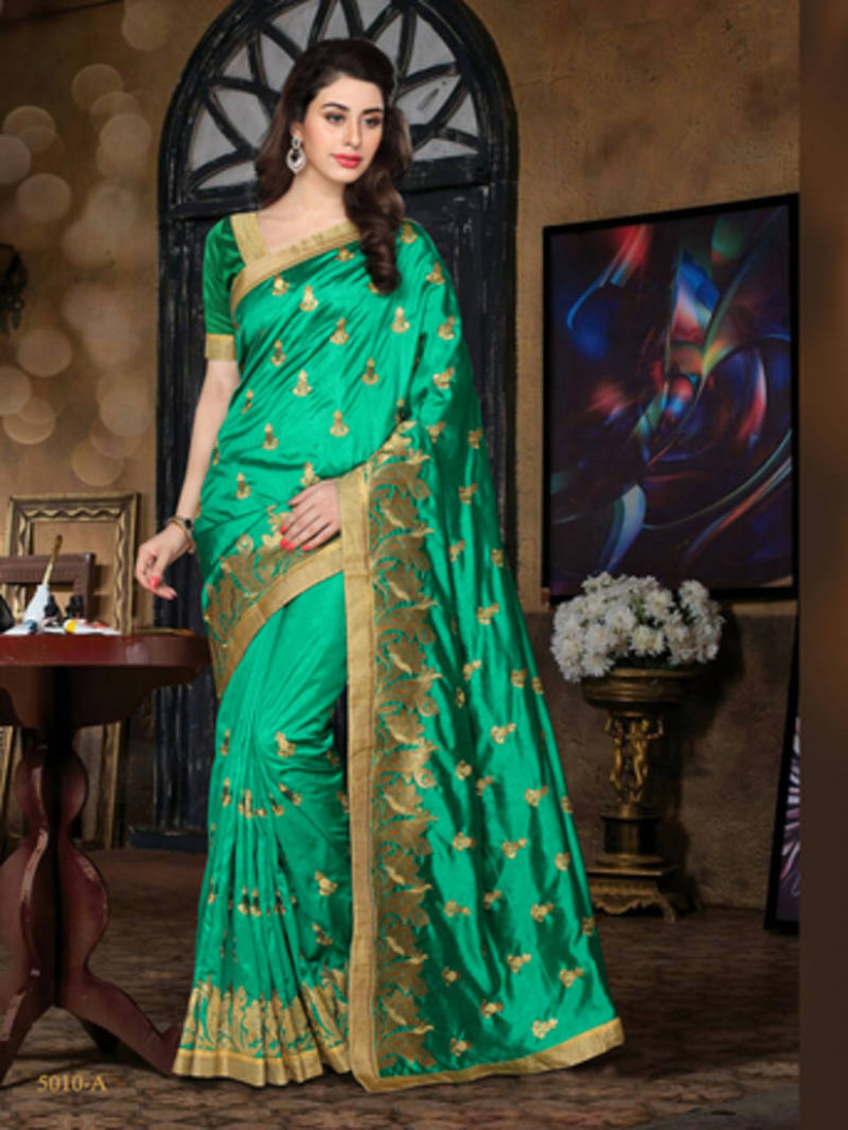 Buy Green embroidered Pure Silk saree with blouse Online