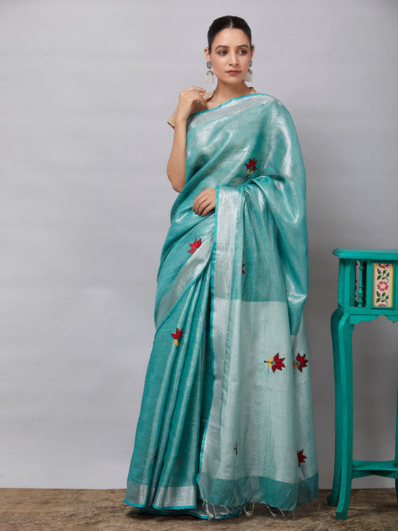 Buy Green Golden Embroidered Linen Tissue Saree online at
