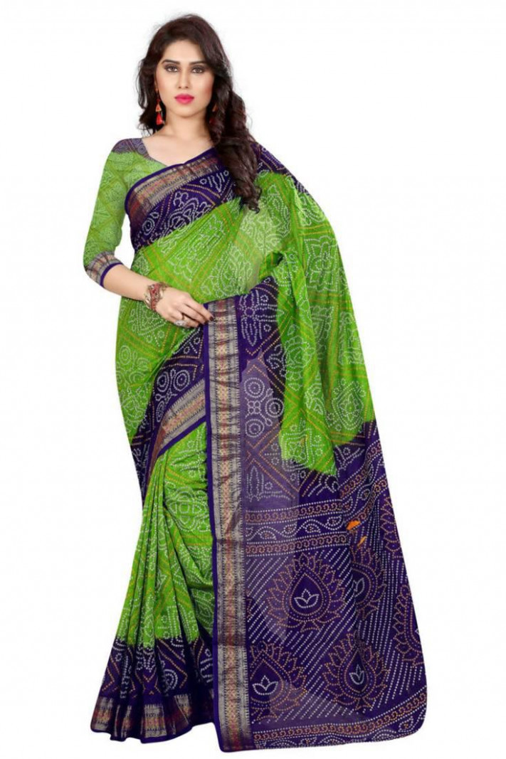 Buy Green hand woven Bandhani saree With Blouse Online