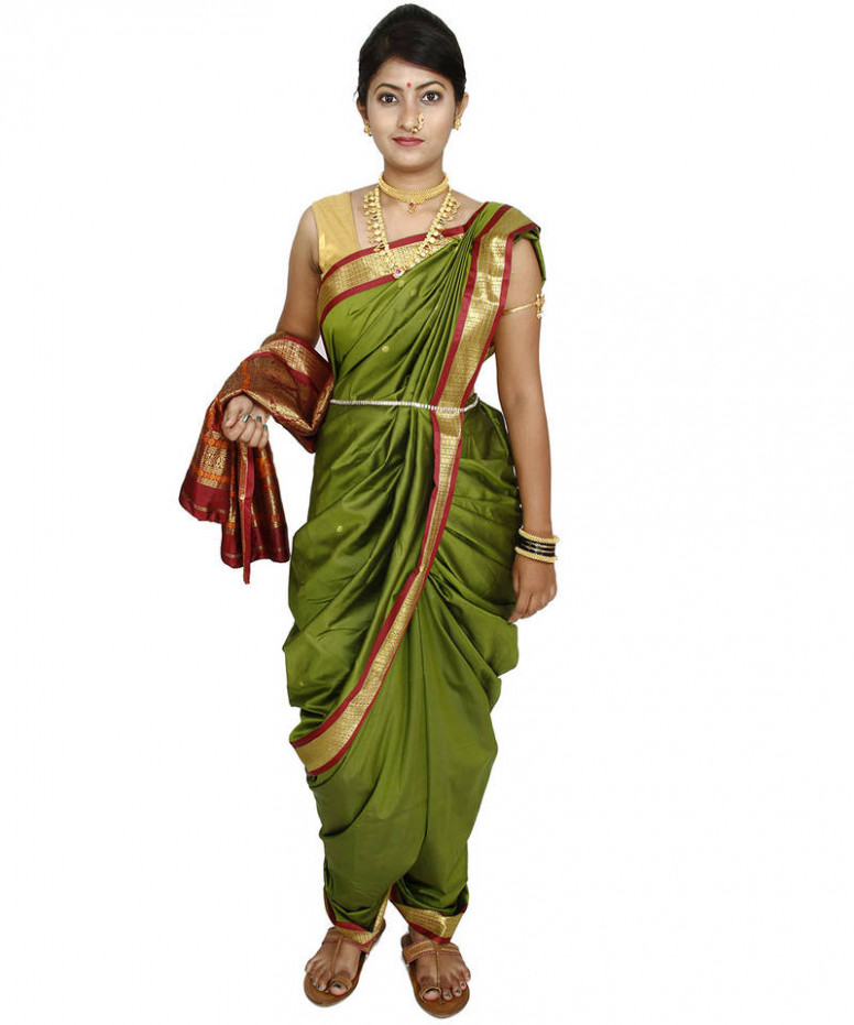 Buy Green plain cotton silk nauvari saree Online