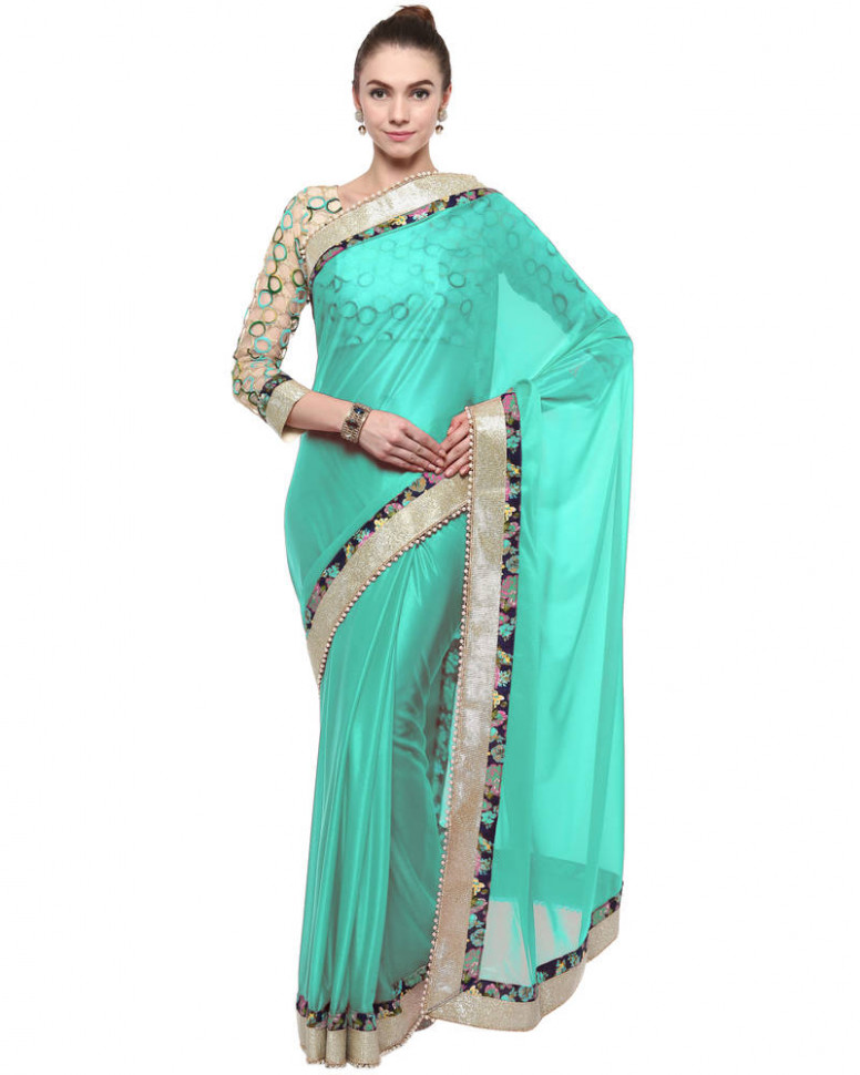 Buy Green plain lycra saree With Blouse Online