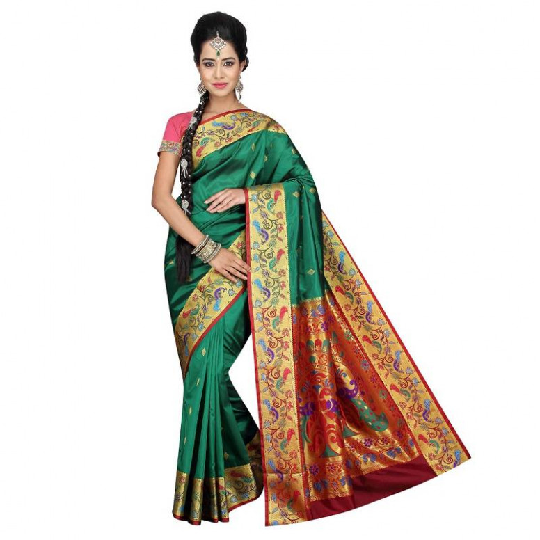 Buy GREEN Traditional Paithani Sarees Online