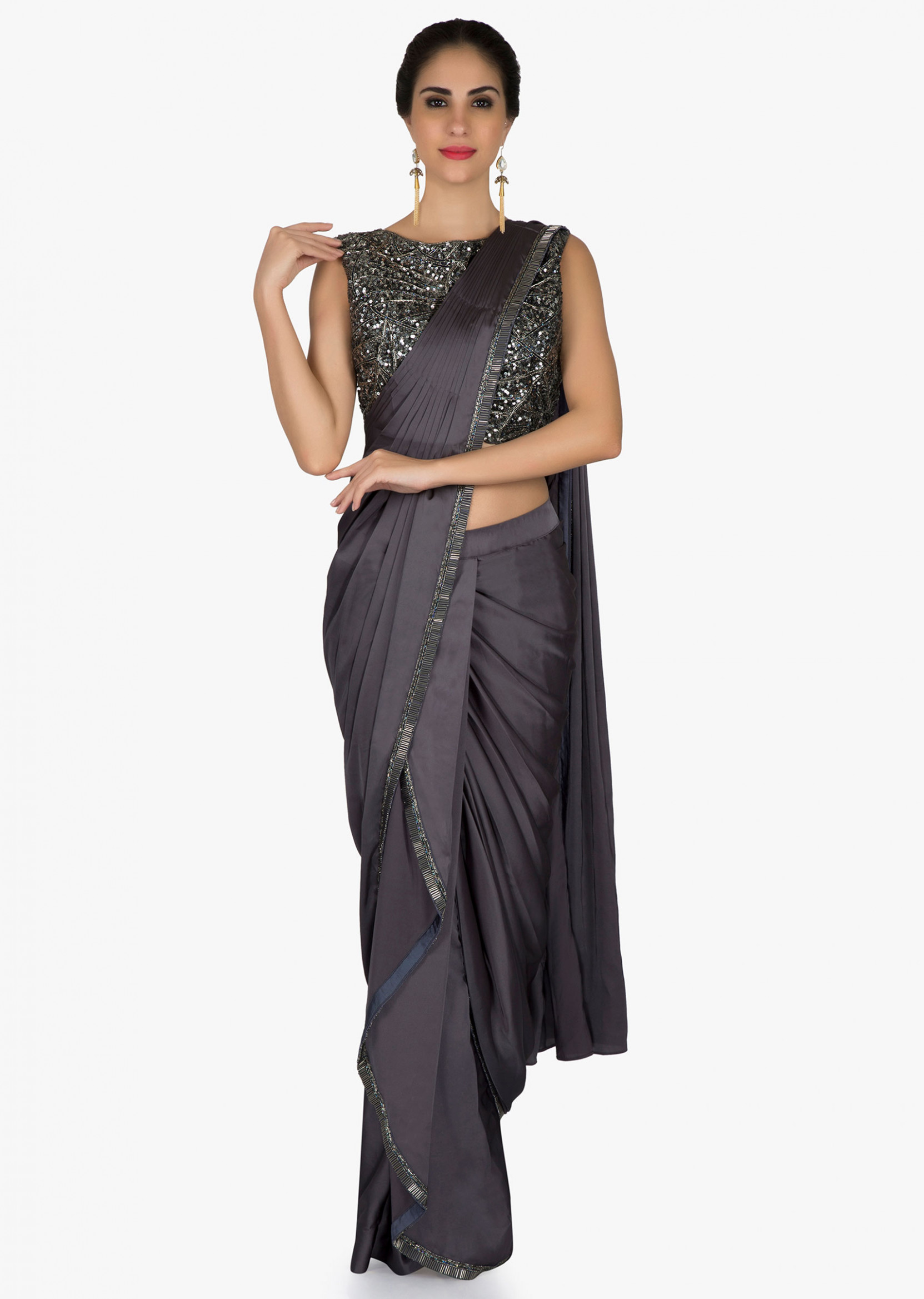Buy Grey Pre Stitched Saree In Cascade And Cowl Drape With