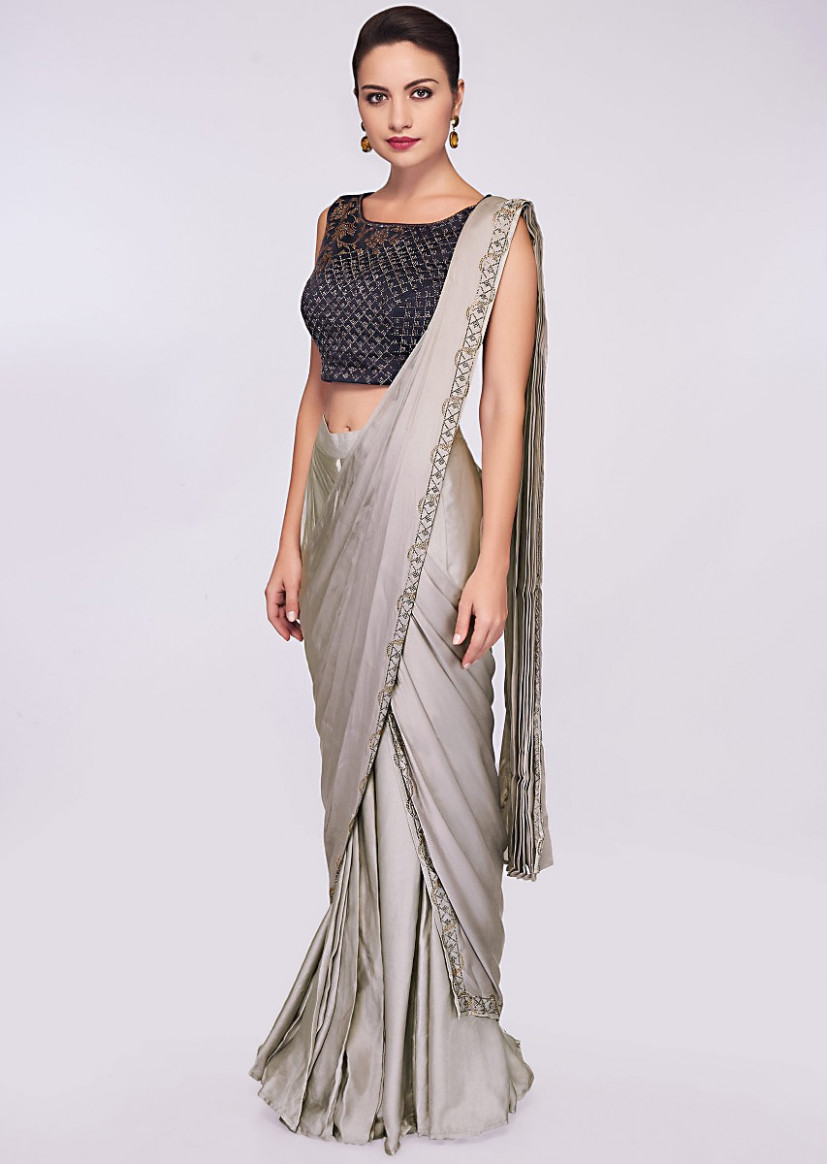 Buy Grey Pre Stitched Saree In Satin With Ready Pleats And