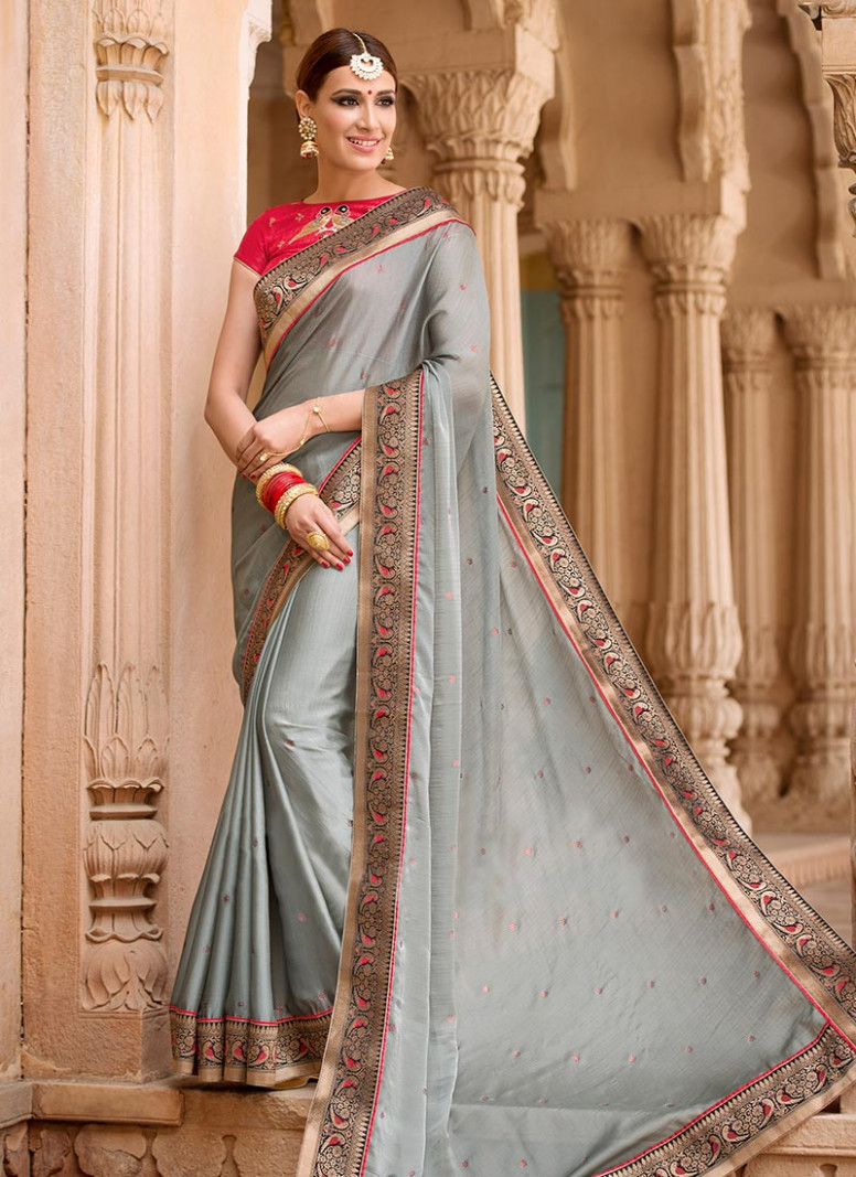Buy Grey Rayon Border Saree, Embroidered, sari Online