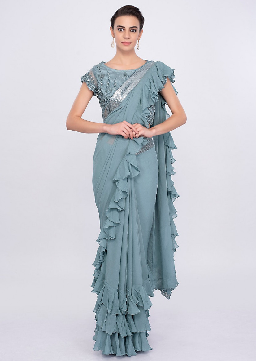 Buy Grey Saree In Georgette With Frill Pallu And Hem