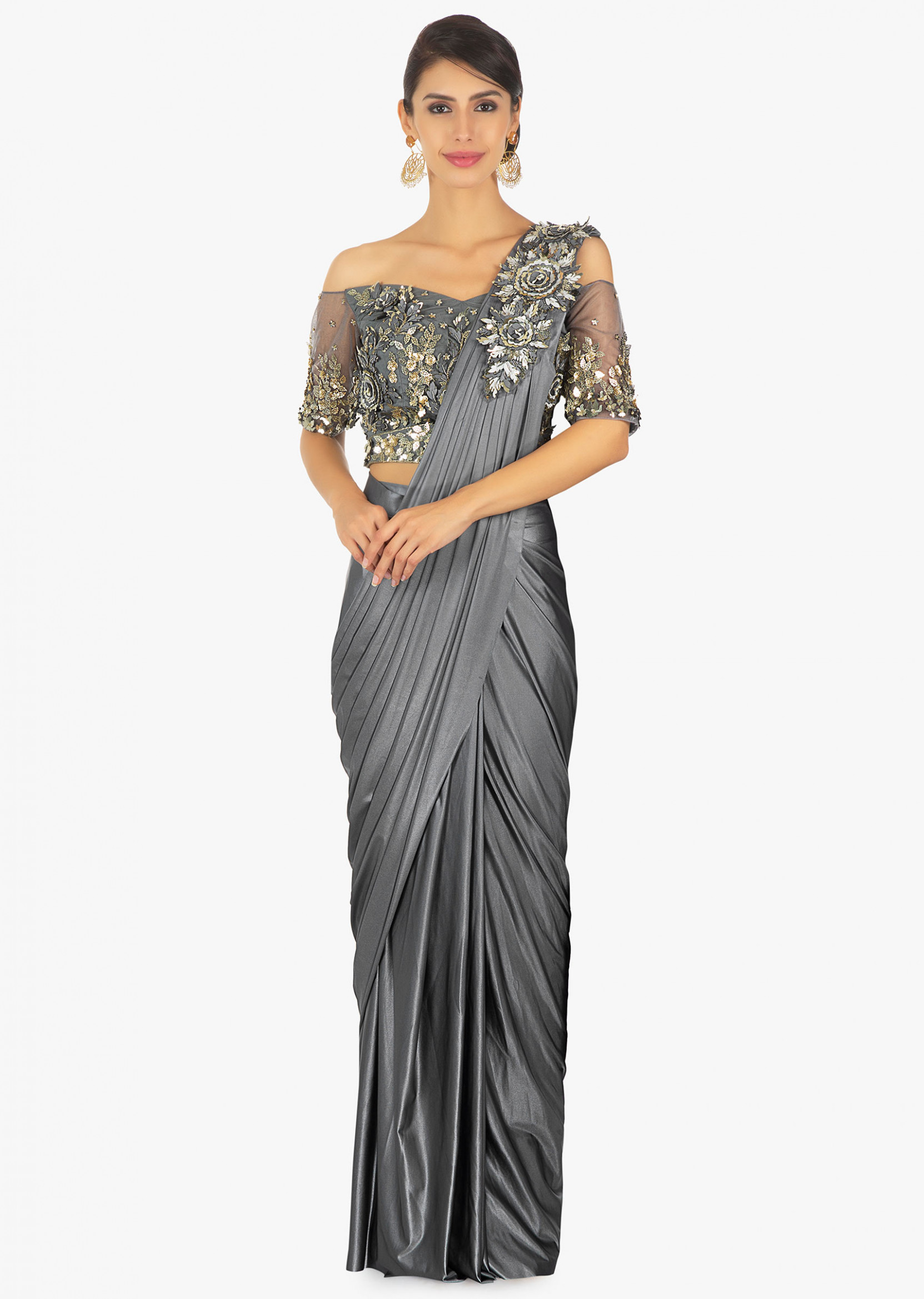 Buy Gunmetal Grey Saree In Lycra With Presstitched Pleats