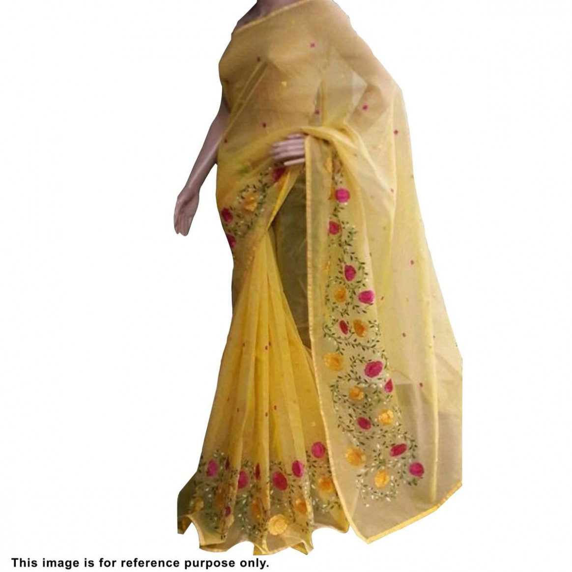 Buy Hypnotic Yellow Colored Partywear Embroidered Organza