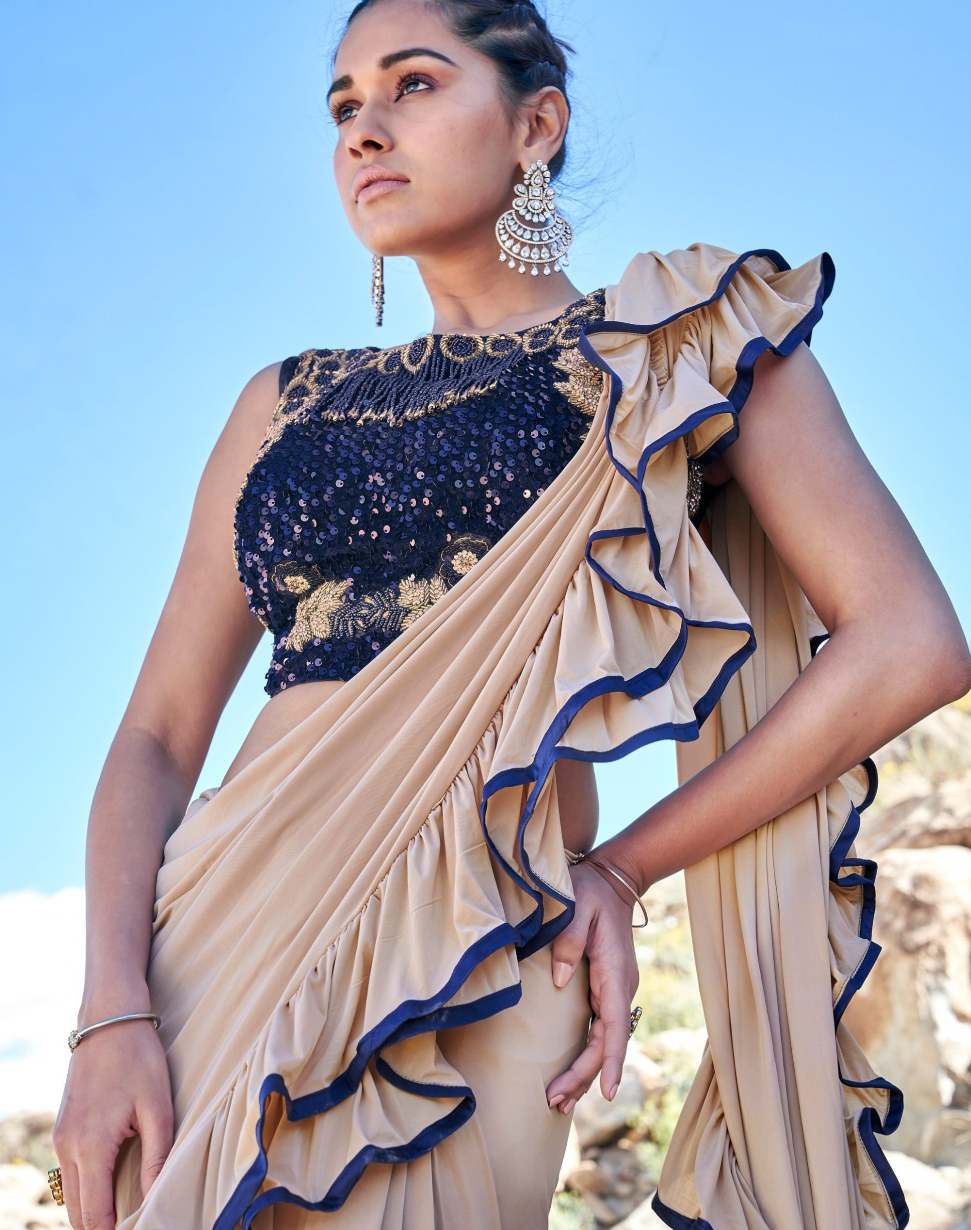Buy Indian ruffle party wear saree in UK, USA and Canada