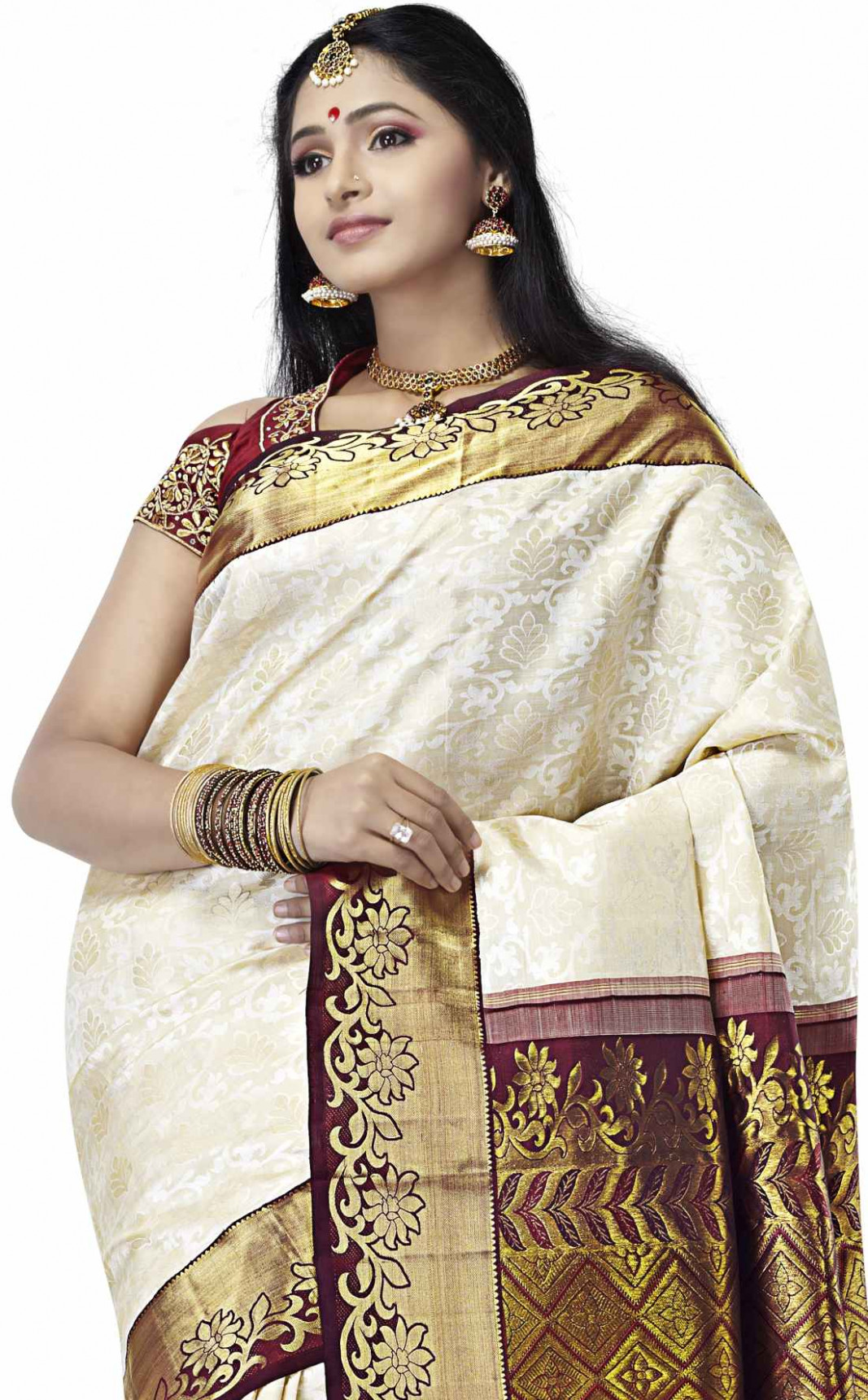 Buy Kanjivaram Silk Sarees Cream Silk Pure Hand woven