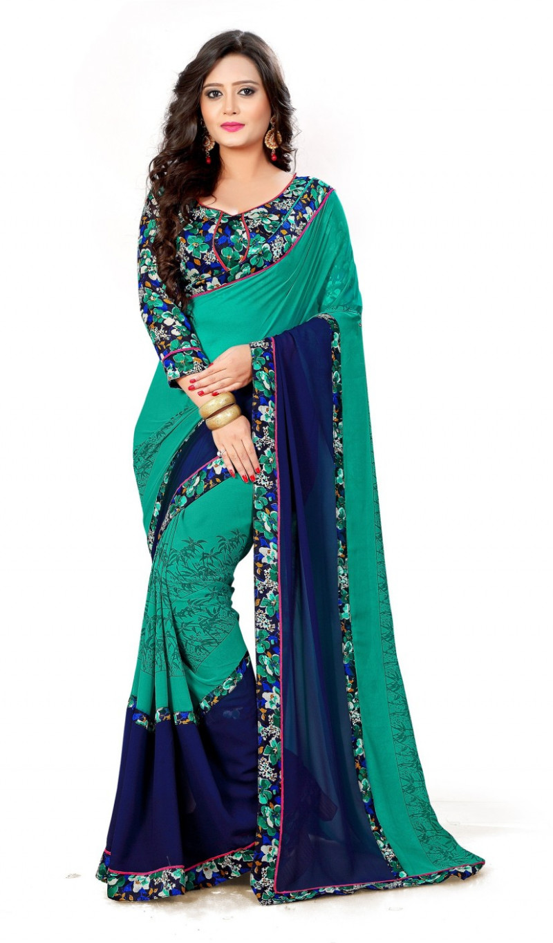 Buy Laddeez Floral Print Fashion Chiffon Green Sarees  - flipkart saree