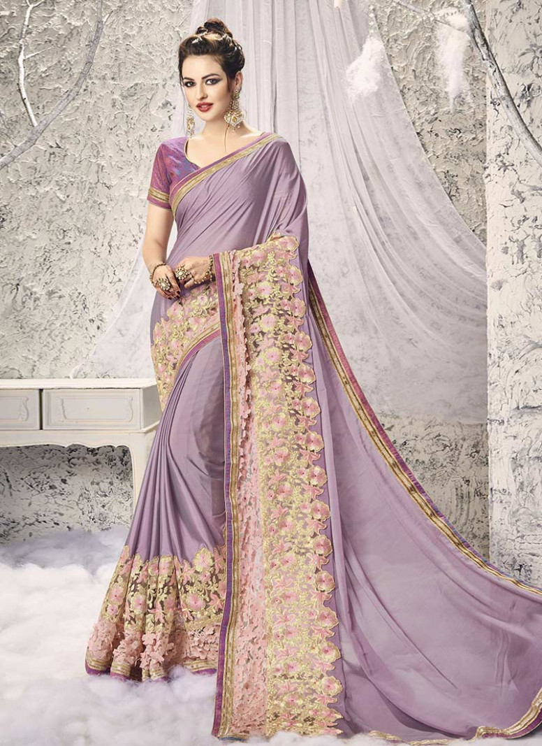 Buy Lavender Georgette Saree, sari Online Shopping