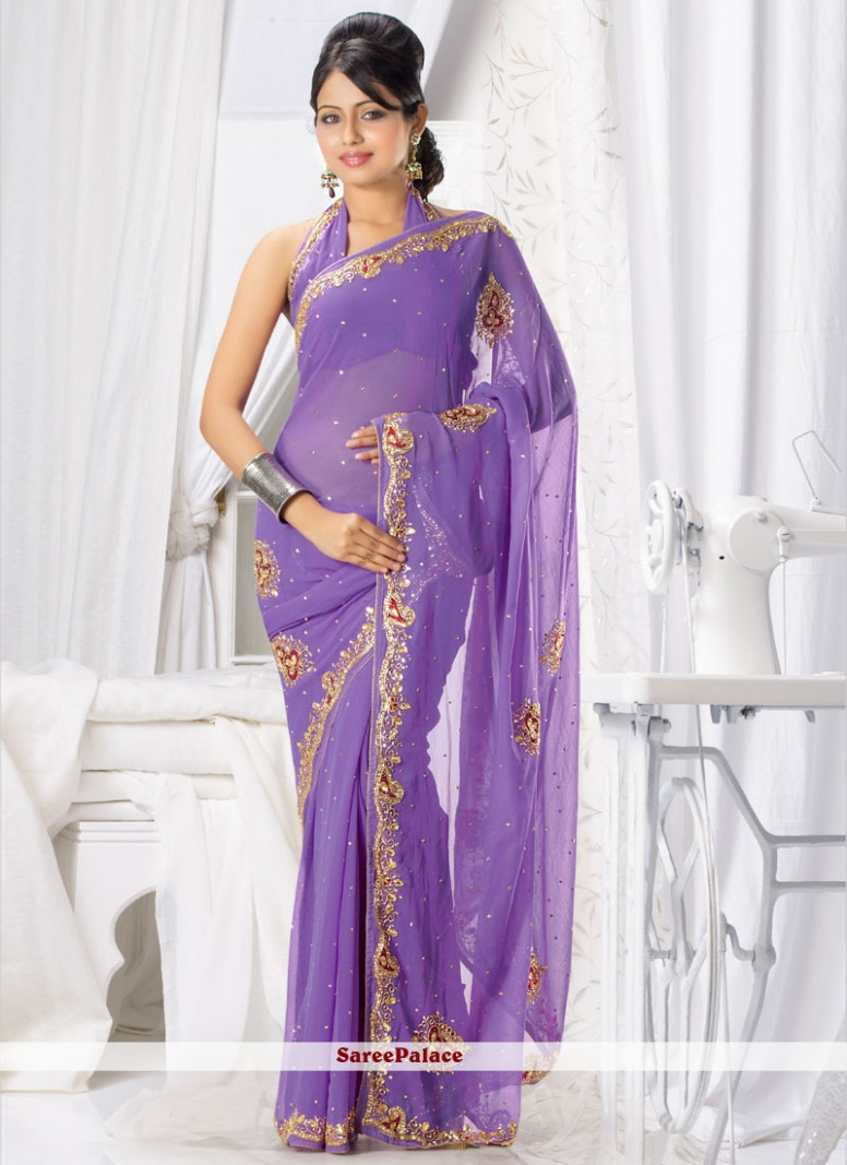 Buy Lavender Shaded Stone Work Chiffon Saree Online