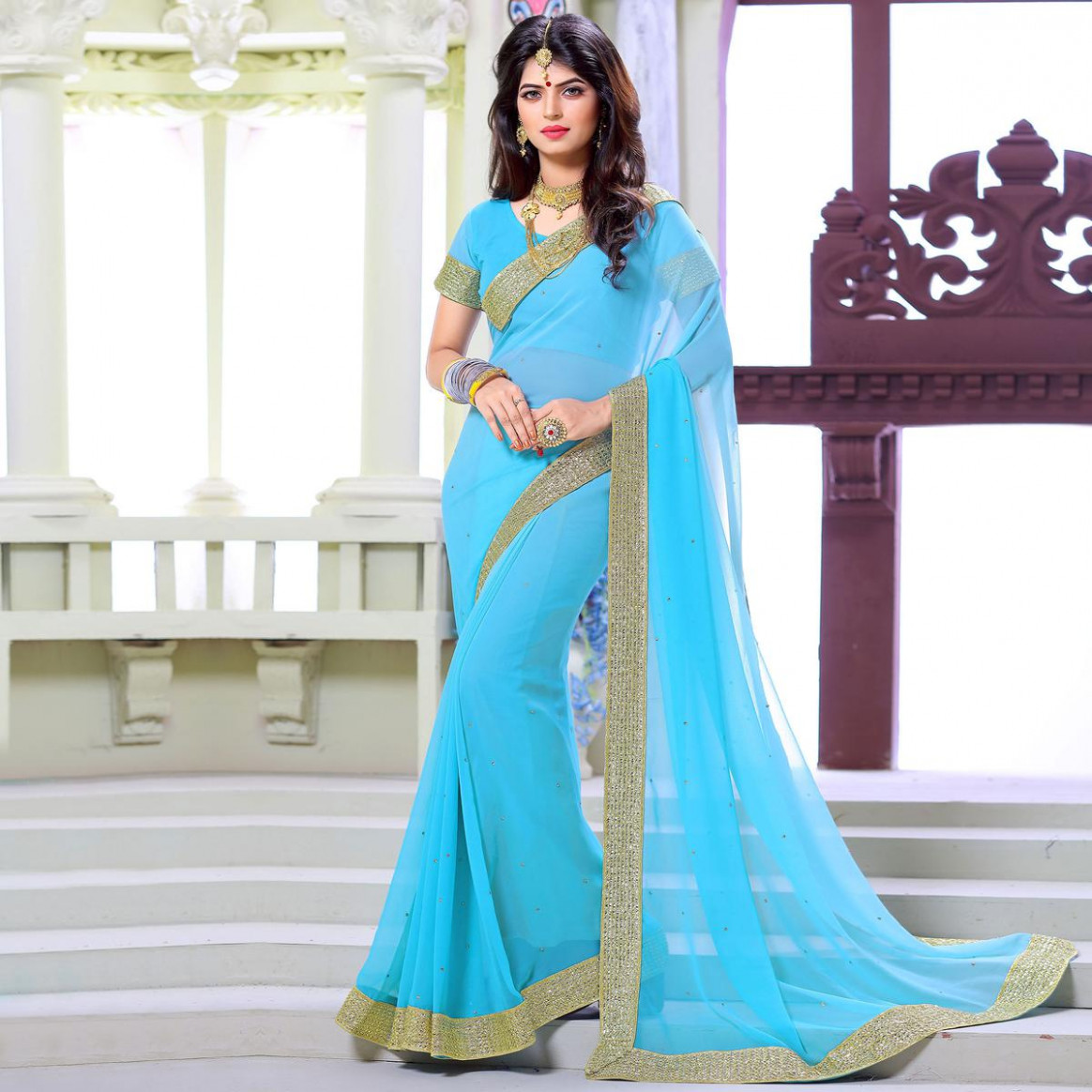 Buy Light Blue Border Work Georgette Saree online India