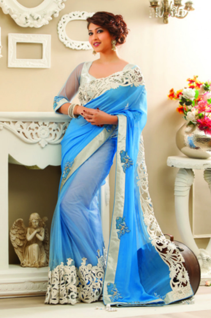 Buy Light blue chiffon saree in shimmering silver border