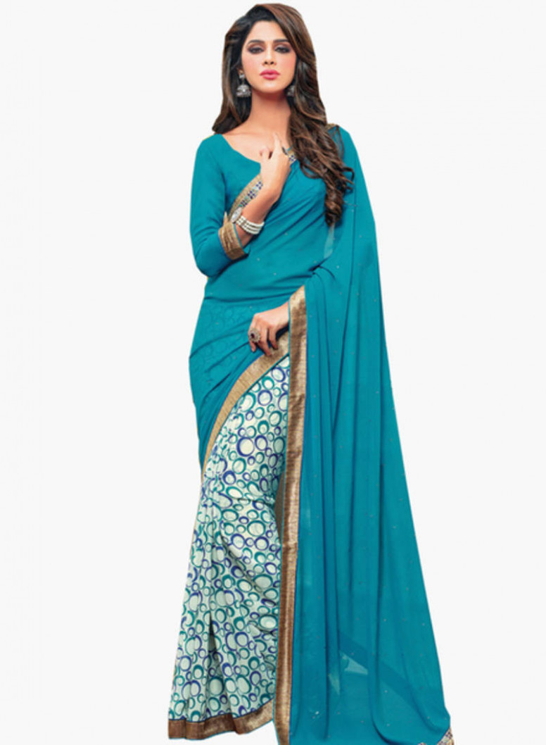 Buy light blue plain georgette saree With Blouse Online