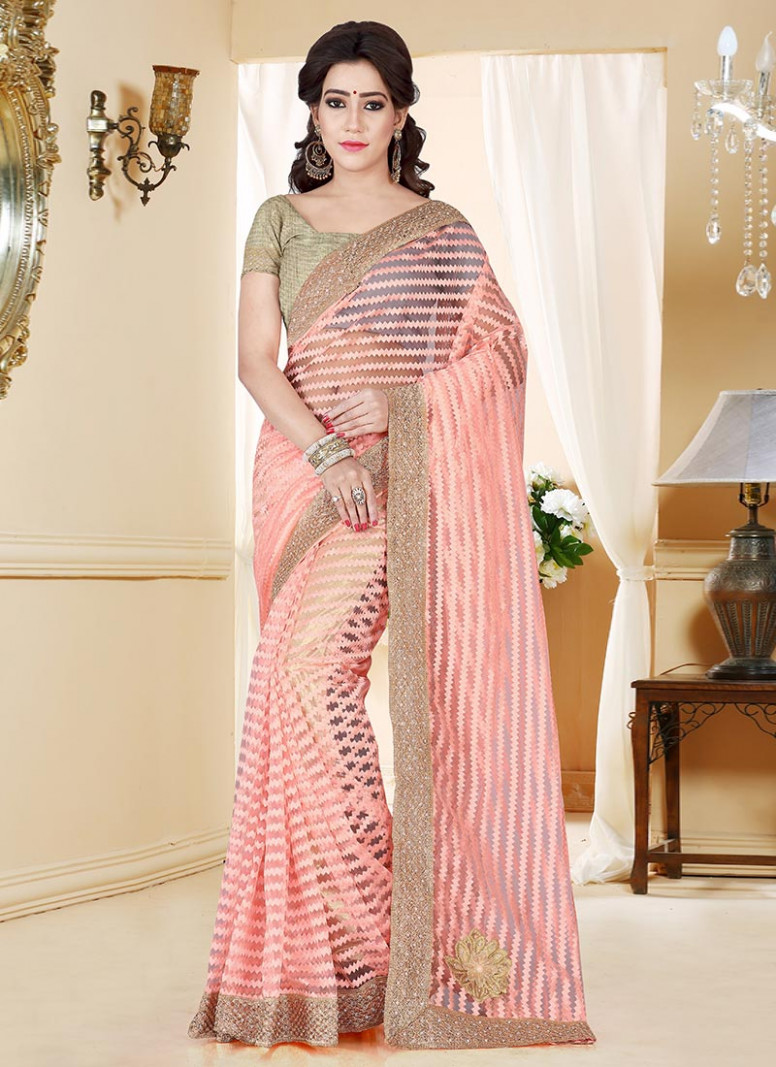 Buy Light Peach Net Saree, sari Online Shopping, SASKS1079
