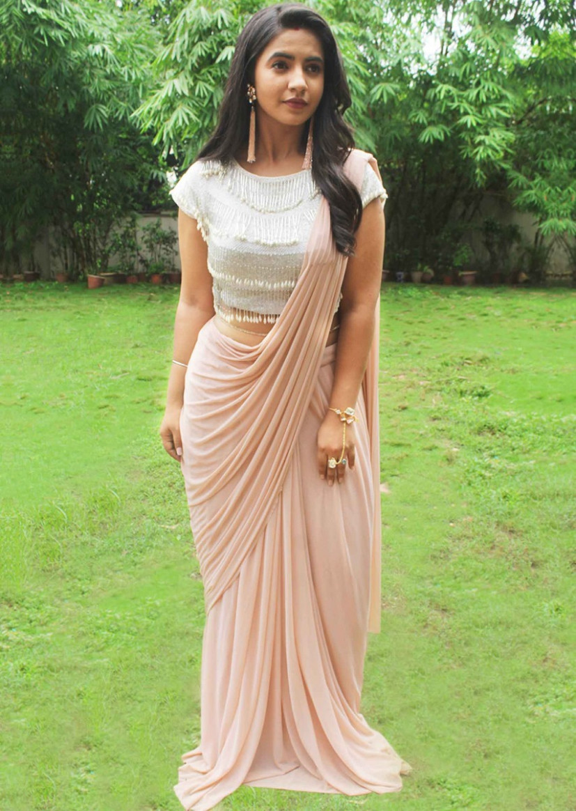 Buy Light Peach Pre-Stitchid Saree With Crop Top Blouse