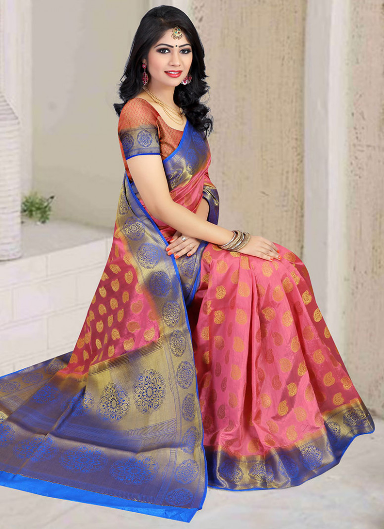 Buy Light Pink Art Silk Saree, sari Online Shopping, SAMSC001N