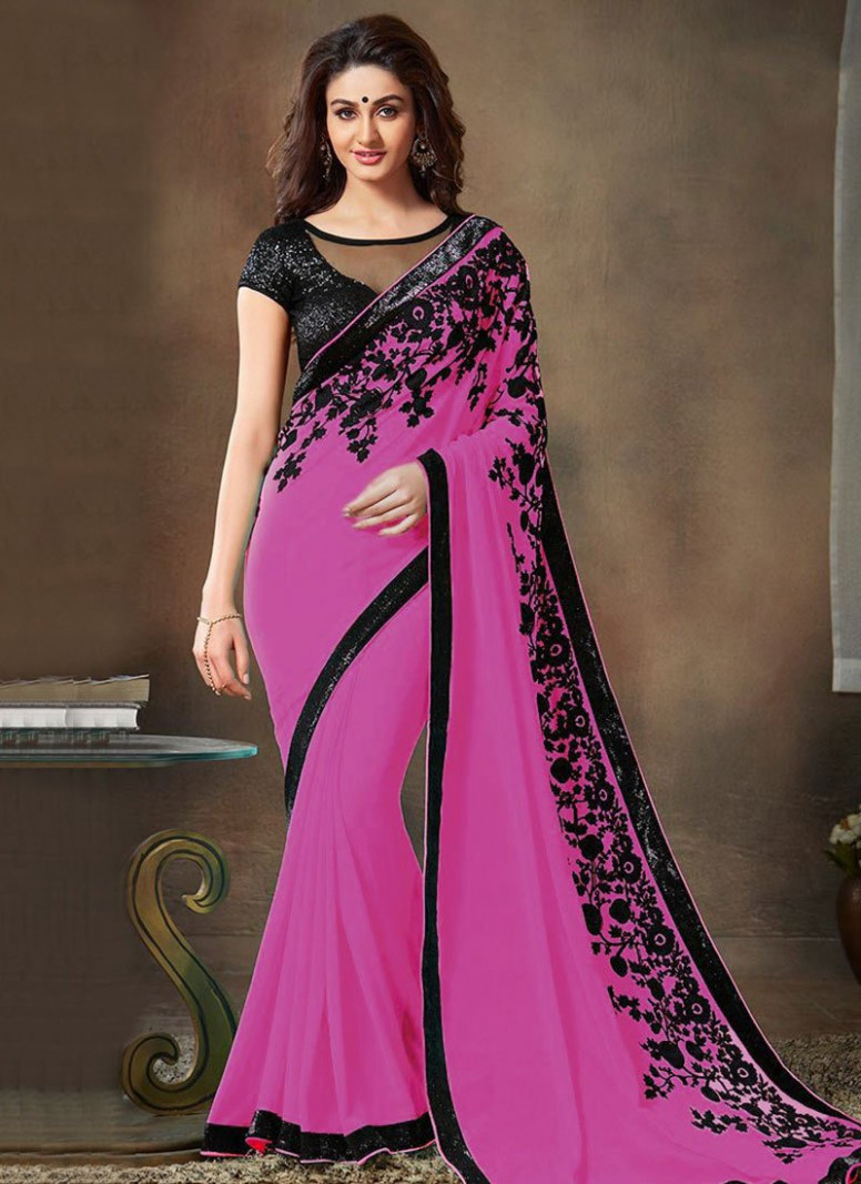 Buy Light Pink Chiffon Saree, sari Online Shopping