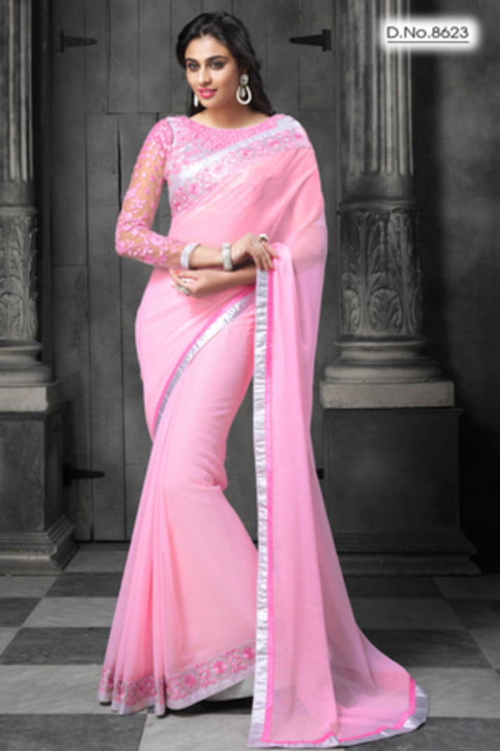 Buy Light pink embroidered Faux chiffon saree with blouse