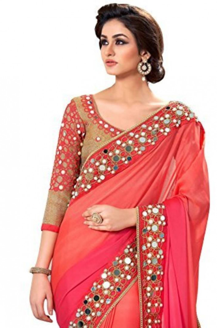 Buy Light Pink embroidered mirror work saree with blouse
