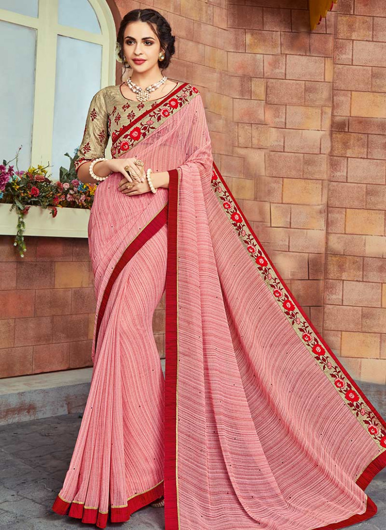 Buy Light Pink Georgette Border Saree, Stones , Printed
