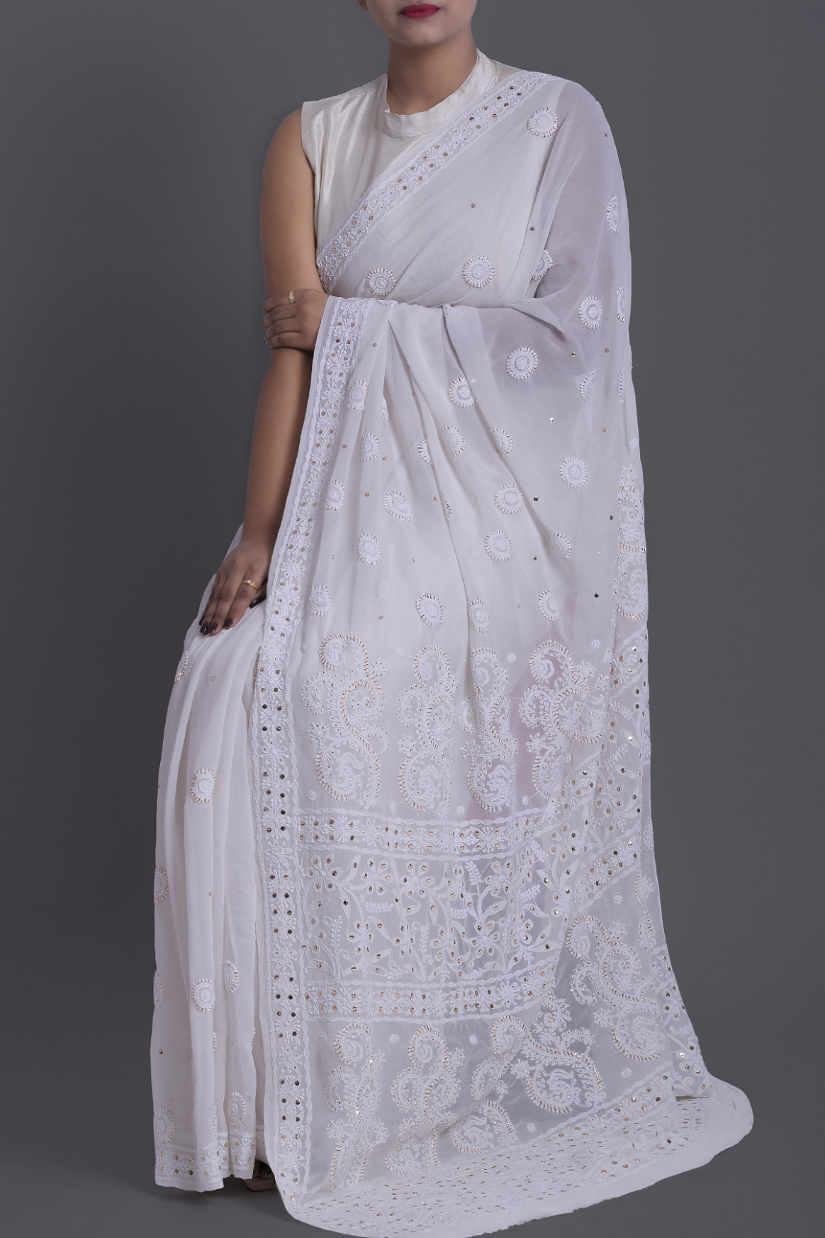 Buy lucknowi chikan sarees online, Pure lucknowi chikan