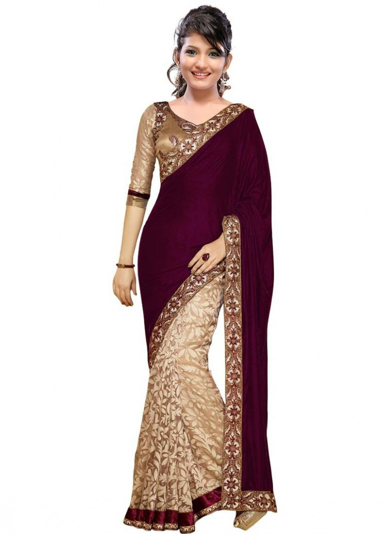 Buy Magenta and Cream embroidered velvet saree with blouse