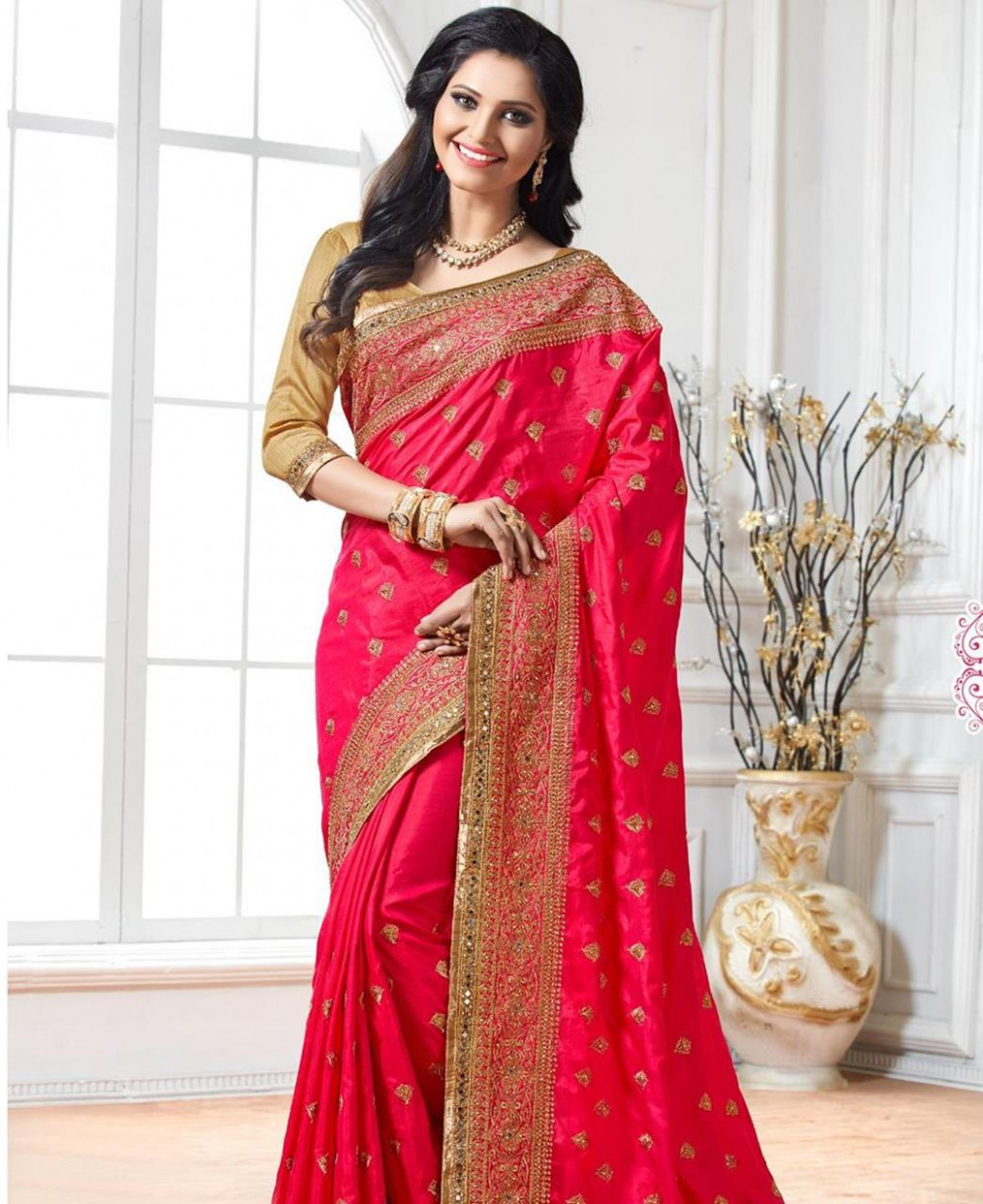 Buy Magnificent Dark Pink Silk Saree [100809] at ₹ 3,580.46