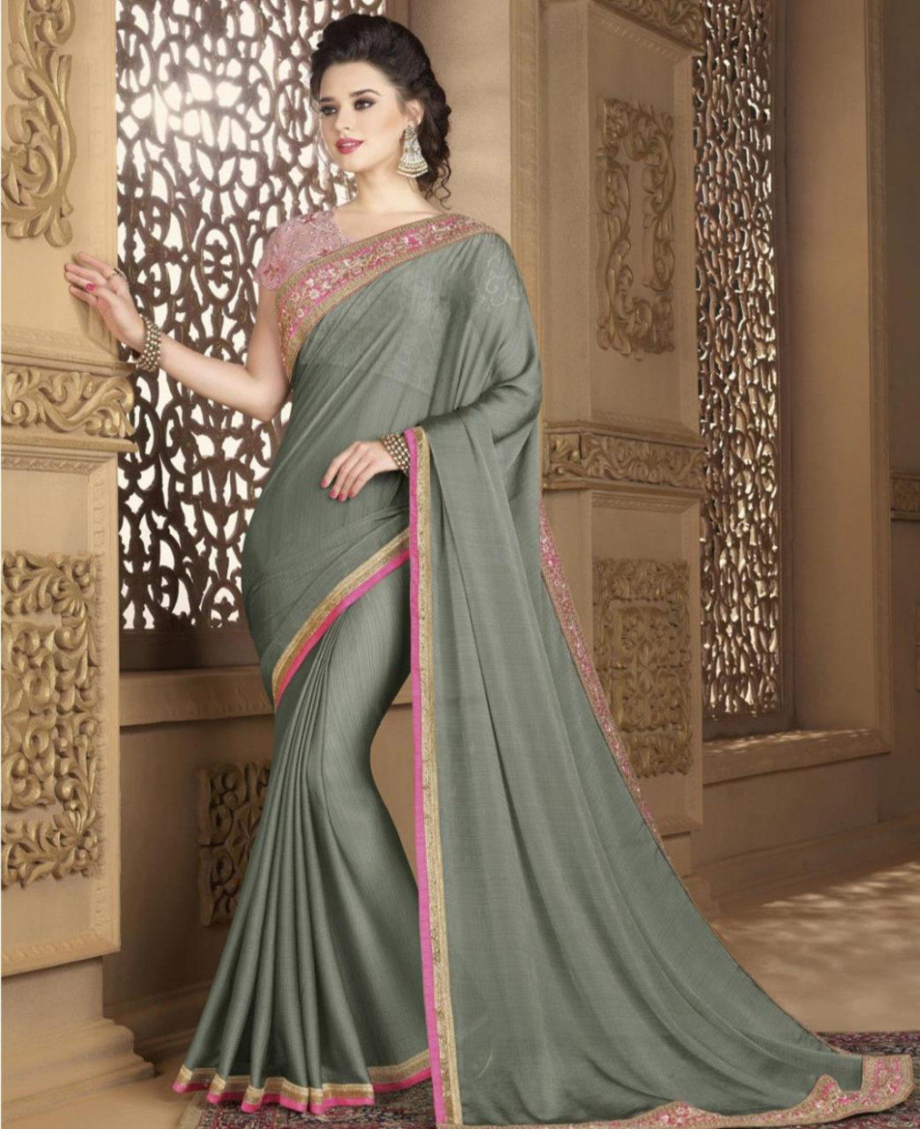 Buy Magnificent Grey Georgette Saree [135379] at $54.04