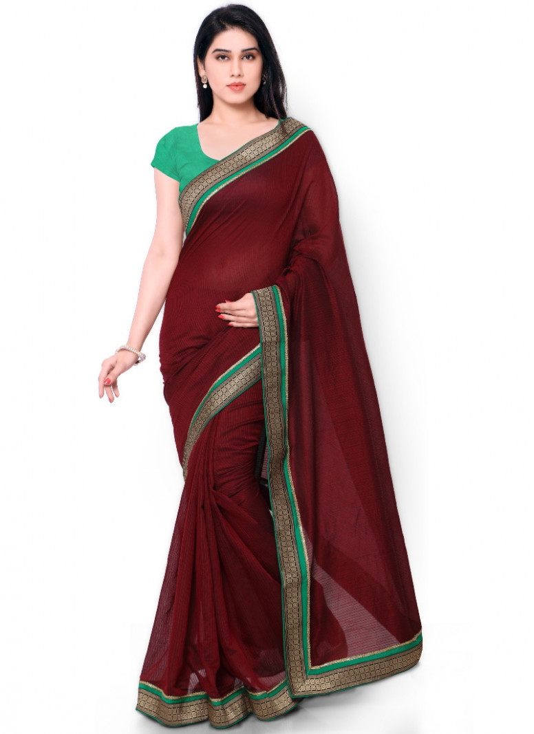 Buy Maroon Cotton Border Saree, sari Online Shopping