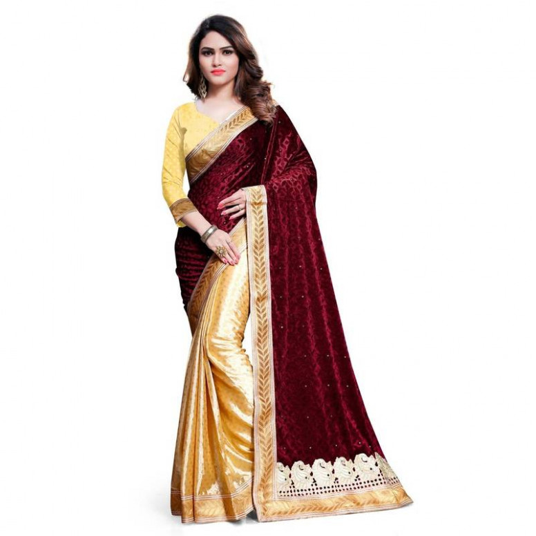 Buy maroon embroidered velvet saree With Blouse Online